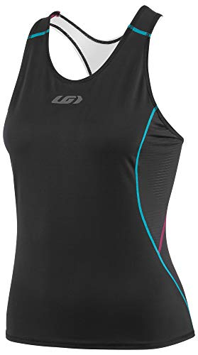 Louis Garneau Women's Tri Comp Lightweight, Moisture Wicking, Sleeveless Triathlon Bike Top, Black/Purple/Green, XX-Large