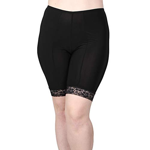 Undersummers Fusion Shorlettes: Anti Thigh Chafing Slipshorts (Large, Black) ... (Slips With Lace Meant To Be Seen)
