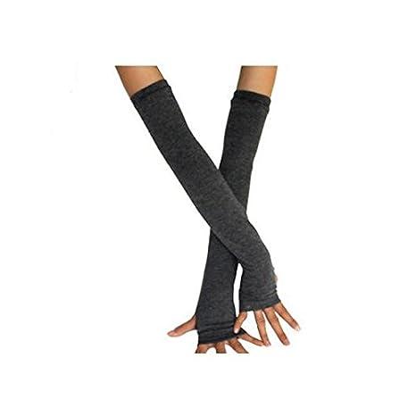 LEORX Par de algodón de punto guantes largos sin dedos mano ...