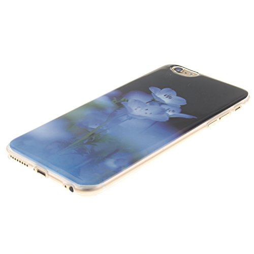Custodia iPhone 6 / iPhone 6S , LH Fiore Blu TPU Silicone Cristallo Morbido Case Cover Custodie per Apple iPhone 6 / iPhone 6S 4.7