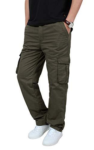 KEFITEVD Mens Warm Cargo Trousers Winter Elasticated Waist Polar Fleece Combat Trouser with 6 Pockets