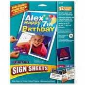 AVERY PRINTABLE SIGN SHEETS 12 SHEETS PER PACK 2733 Avery Banner Sign