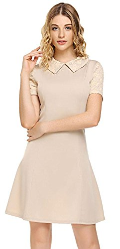 Womens Peter Pan Costume Pattern (Women's Casual Peter Pan Collar Short Sleeve Lace Cocktail Party Flare Dress (XXL, Khaki))