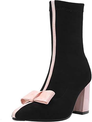 8CM Heel Boots Block Pink ankxio Calaier Women On Pull 4TTSE