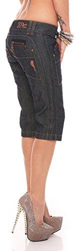 Cassie Schwarz Damen Designer Cargo Shorts Capri Bermuda kurze Stoffhose Jeanshose Knopfleiste Capri