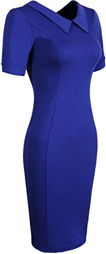 Jeansian Vestido De Temperamento Te Tendencia De Las Mujer Women Trend Temperament Dress WKD173 Navy