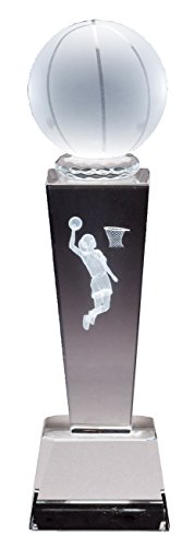 Awards and Gifts R Us Customizable Female Basketball Optical Crystal Trophy Figure Laser Engraved Inside, Includes Personalization