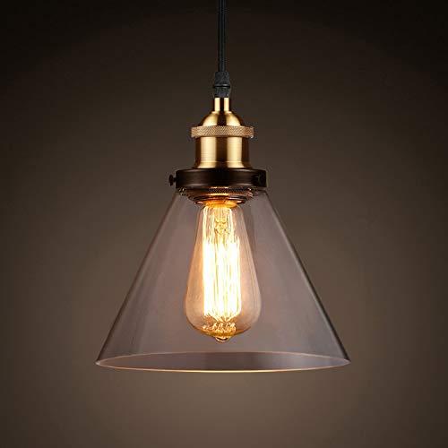 Ascher Industrial Edison Vintage Pendant Light, Clear Glass Shade 1-Light Ceiling Light Fixture, Antique Brass Brushed E26 Socket, 66.9