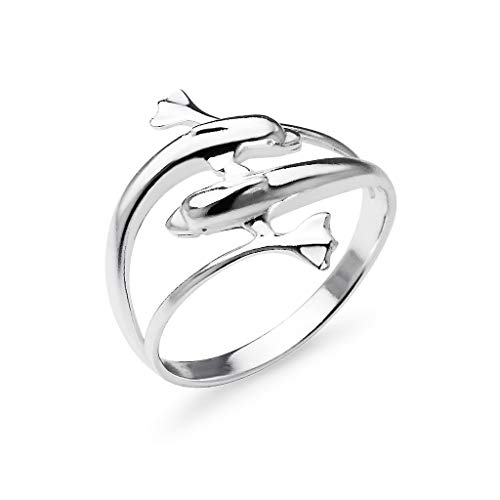 Sterling Silver Double Dolphin Wrap Charm Ring | Ocean Animal Friendship Band Jewelry | Size - Ring Style Band Dolphin