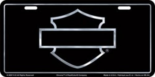 Harley Davidson Plates - Harley-Davidson Black Front License Plate Black with Silver Open B&S