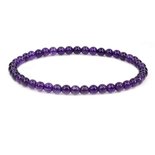 - AMANDASTONES Natural A Grade Amethyst 4mm Round Beads Stretch Bracelet 7