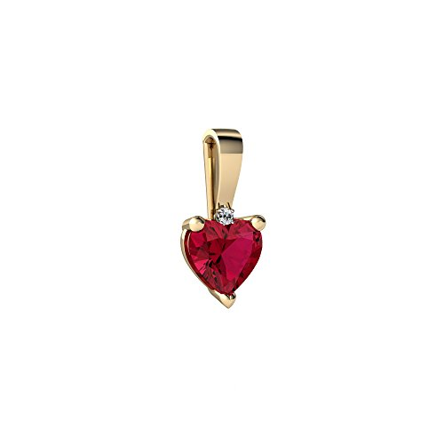 Solitaire Created Gold Ruby (14kt Yellow Gold Lab Ruby and Diamond 5mm Heart Solitaire Pendant)