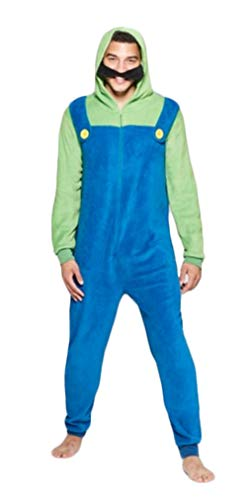 Adult Zip up Super Mario Brothers Luigi Green and Blue Costume Jumpsuit (Adult X-Large)]()