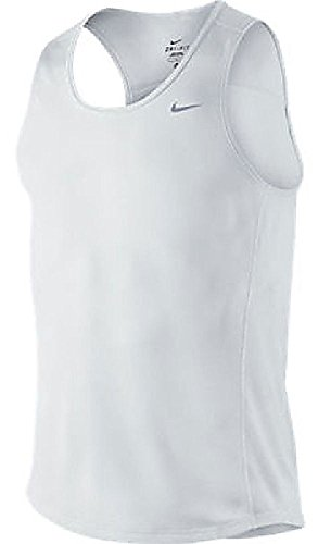 Nike White Dri-FIT Essentials Mesh Running Singlet (XXL=52) (Singlet Nike Essentials)
