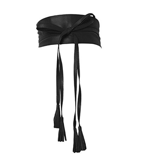 Women Extra Long 90 Inch Waist Band Suede Obi Belt with Tassel (black)