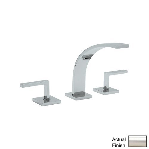 Stn Satin Nickel Wave (Rohl WA102L-STN-2 Wave Widespread Kitchen Faucet with Pop-Up Drain and Metal Lever Handles, Satin Nickel)