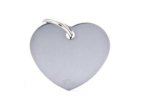 Médaille MyFamily Coeur Grand Aluminium Gris plaque chien gravure gratuite chat