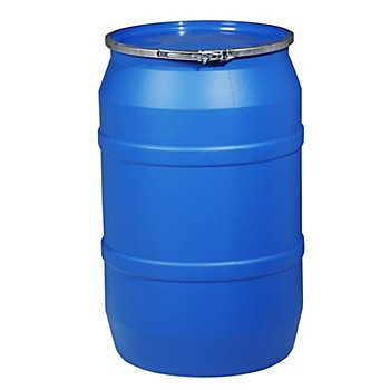 New Pig DRM1059 Straight-Sided Open-Head UN Rated HDPE Drum, 55 Gallon Capacity, 23'' Diameter x 37'' Height, Blue