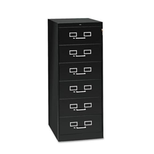 - Tennsco CF669BK 21-1/4 by 52-Inch 6-Drawer Multimedia Cabinet for 6 by 9 Cards, Black