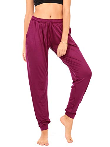 DEAR SPARKLE Jogger with Pockets for Women Drawstring Lightweight Sweats Yoga Lounge Pants + Plus Size (P7) (Purple, 2X-Large)
