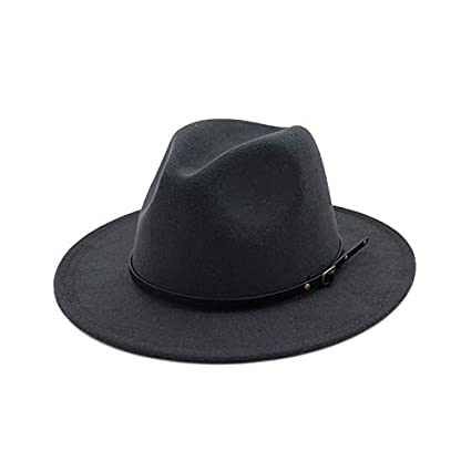 Kinglly Womens Buckle Fedora Hat Wool Felt Outback Hat Panama Hat Wide Brim Women Belt Buckle Fedora Hat