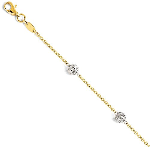 ICE CARATS 14k Two Tone Yellow Gold Anklet Ankle Beach Chain Bracelet Fine Jewelry Gift Set For Women Heart by ICE CARATS