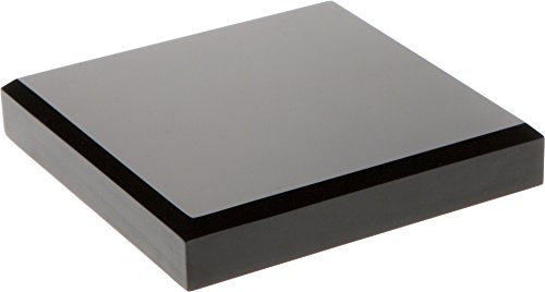 Trophy Plate Base - Plymor Brand Black Acrylic Square Beveled Display Base.75