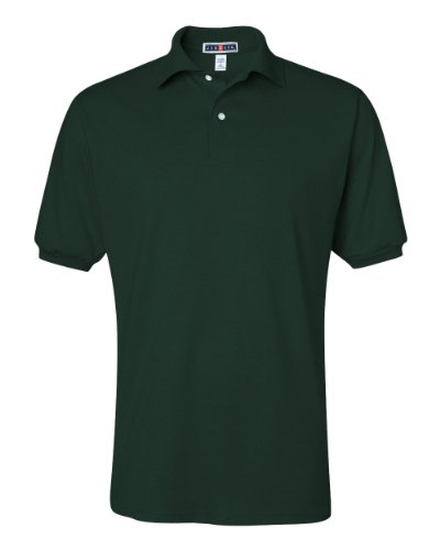 Forest Jersey (Jerzees Men's Jersey Polo with Spotshield, Forest Green,)