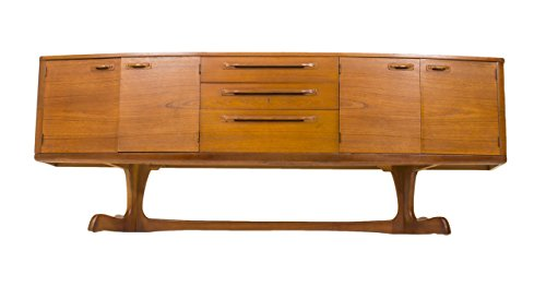 (Mid Century Modern Danish Teak Bow Fronted Credenza or Media Console )