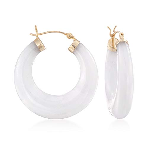 Ring Earring Jade (Ross-Simons White Kunlun Jade Hoop Earrings in 14kt Yellow Gold)