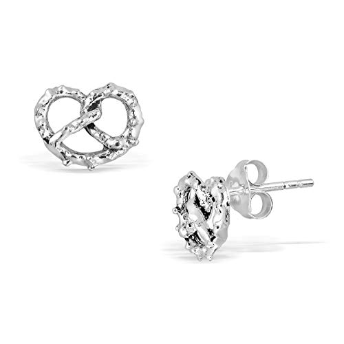 Thanksgiving Pretzels - WithLoveSilver 925 Sterling Silver Pretzel Heart Snack Stud Earrings