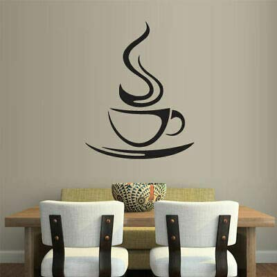 Yilooom Wall Vinyl Sticker Kitchen Decal Coffee Curly Cup Hot ()
