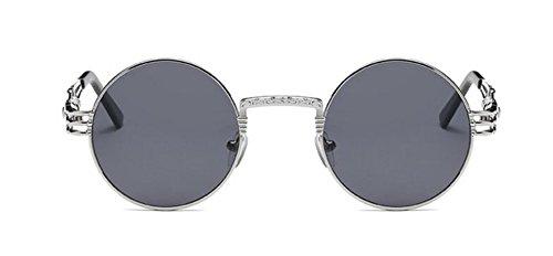 lunettes Noir style vintage soleil polarisées C de rond métallique cercle Frêne Lennon inspirées retro en du rn0n6H