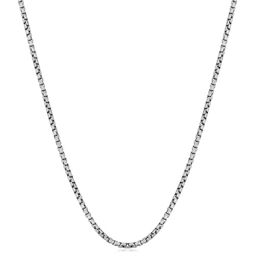 Kooljewelry Sterling Silver 1.2 mm Round Box Chain Necklace (36 inch)