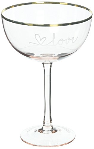 Cathy's Concepts Love Blush Rose Gilded Rim Coupe Flutes and Serving ()
