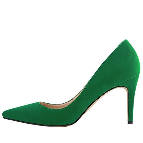 OCHENTA Mujer clasico Zapatos de tacon Resbalon en vestido de las bombas con los colores multi Verde