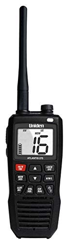 - Uniden Atlantis 275 Handheld Two-Way VHF Marine Radio, Floating IPX8 Submersible Waterproof, Large Dual-Color Screen, 6-Watt, All USA/International/Canadian Marine Channels, NOAA Weather Alerts