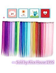 Bundle 24 Pieces of 20 Inches Multi-colors Party Highlights Colorful Clip in Synthetic Hair Extensions,straight long Hairpiece ()