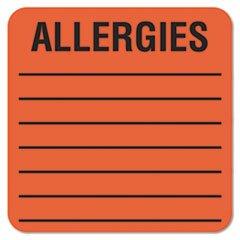 Medical Labels for Allergies, 2 x 2, Orange, 500/Roll