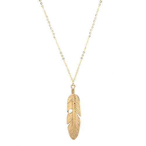 (Vintage Angel Feather Pendant Necklace Chain Statement Jewelry (Gold))