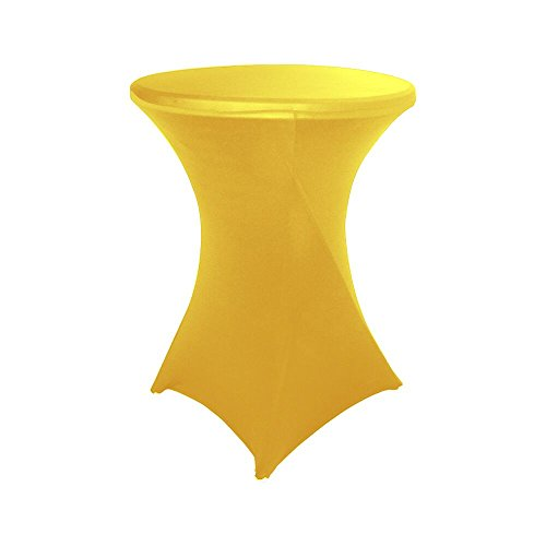 30 inch Highboy Cocktail Round Fitted Stretch Spandex Table Cover Cloth for Party Wedding Yellow HAORUI (Yellow Table Round)