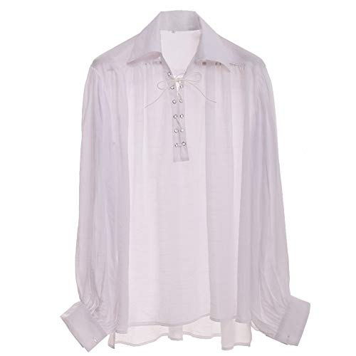 GRACEART Medieval Poet's Pirate Shirt Renaissance Costume Without Belt White XL]()