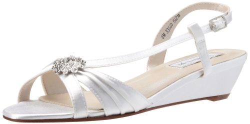 Touch Ups Women's Geri Leather Wedge Sandal,White Satin,8 M US
