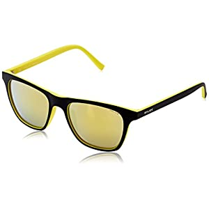 Police S1936M 53B29G Wayfarer Sunglasses, Black,Yellow & Mirrored Yellow, 53 mm