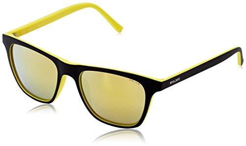 Police S1936M 53B29G Wayfarer Sunglasses, Black,Yellow & Mirrored Yellow, 53 - Police Prescription Sunglasses