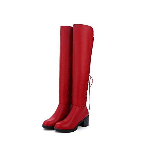 High Soft Round Red Zipper Boots top Closed Material Heels Allhqfashion Toe Kitten Women's 57qwz5B