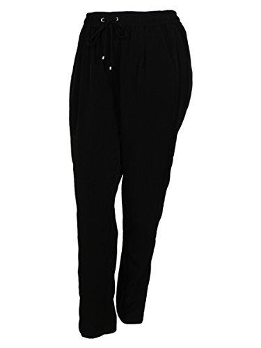 Calvin Klein Women's Elastic Waist Front Drawstring Mesh Side Design Pants (14W, Black)
