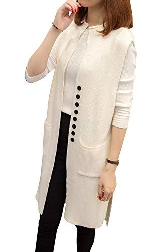 Knit Long Vest - Sovoyant Women Solid Sleeveless Open Front Knit Long Cardigan Jersey Vest Sweater White