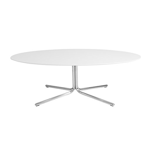 Cheap Kanto GRACE Oval Coffee Table with Brushed Stainless Steel Legs, Gloss White