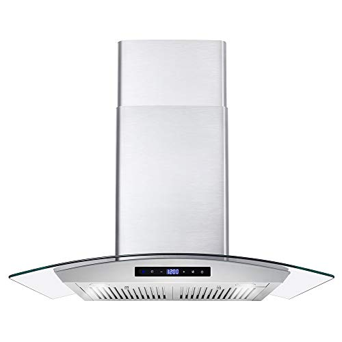 Cosmo 668AS750 30-in Wall-Mount Range Hood 380-CFM | Ducted / Ductless Convertible Duct , Glass Chimney Over Stove Vent…
